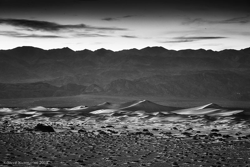 Distant view of the Mesquite Dunes in Death Valley National Park.