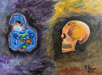 """Coronavirus: A Tribute to Doctors"" (oil) by Naureen Ali"