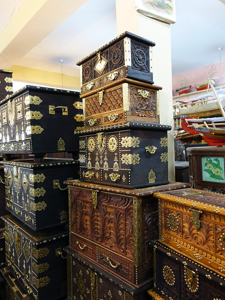 Tower of Zanzibar trunks, each with well-known secret compartment