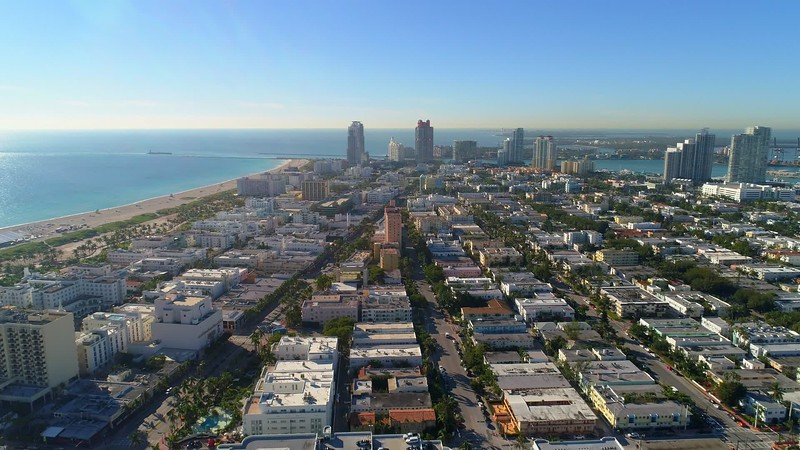 Aerial Miami Beach city tour December 2017 scenic