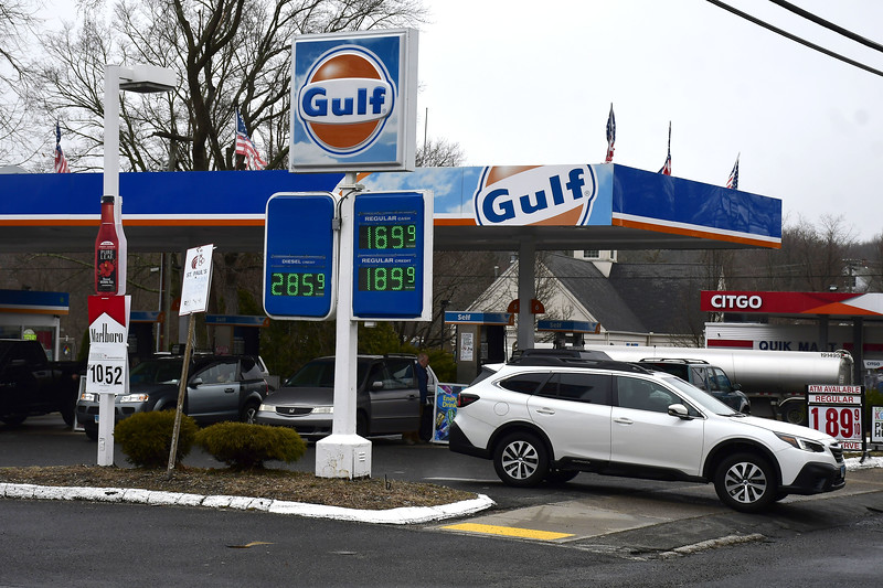 3/20/2020 Mike Orazzi | Staff Gas prices at the Gulf gas station on Route 6 in Terryville on Friday.