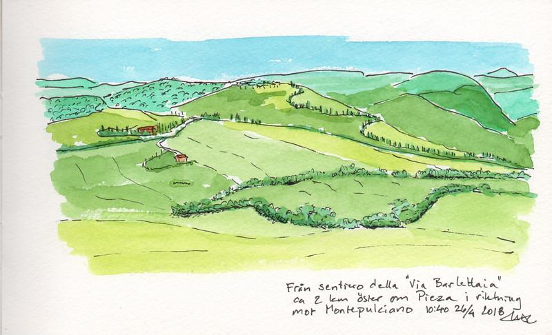 """Valle d'Orcia, from Sentiero della """"Via Berlettaia"""" 2 km east of Pienza towards Montepulciano"""