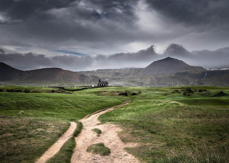 Back Path to Iceland's Church   Photography by Wayne Heim