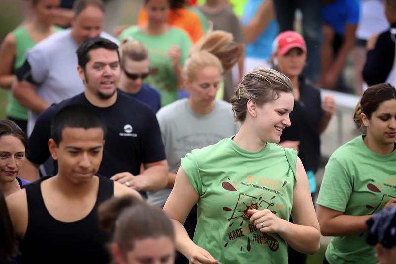 Jesse Keaveny, TJ Strawn, and Michelle Roberts at the start of the Mud Run..