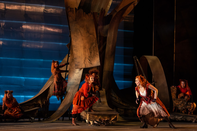 "L to R: Michelle Arotksy, Lilly Grady, Emma Novak, Rachel Kay as kits, Joanna Latini as the Vixen and Maggie Stephens as a kit  in The Glimmerglass Festival's 2018 production of Janáček's ""The Cunning Little Vixen."" Photo: Karli Cadel/The Glimmerglass Festival"