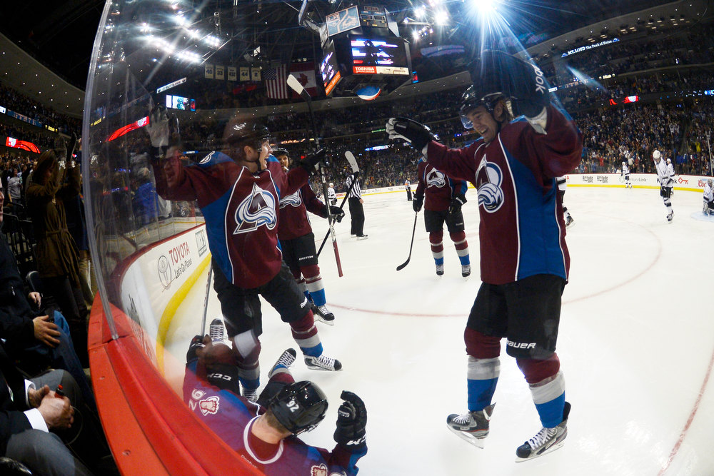 Description of . DENVER, CO. - JANUARY 22: Colorado Avalanche left wing Gabriel Landeskog (92) celebrates a goal with teammates against the Los Angeles Kings during the third period. The Colorado Avalanche Los Angeles Kings at Pepsi Center January 22, 2013.  (Photo By John Leyba / The Denver Post)