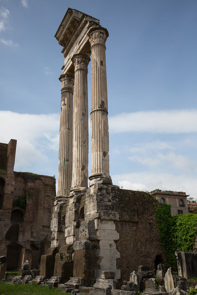 Temple of Castor and Pollux - originally built around 495 BC, the majority of remains are from rebuilding around 6 AD.