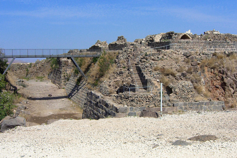10-Looking north along moat at modern entrance bridge and SW corner of fortress.