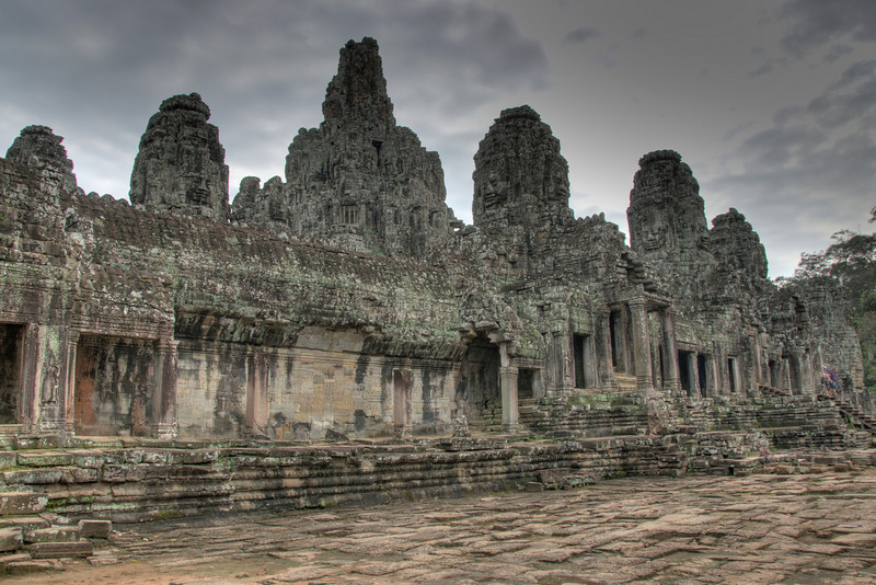 Beautiful shot of the Bayon Temple facade in Cambodia
