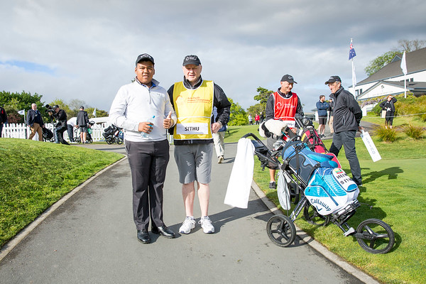 Hein Sithu from Mayanma with his caddy after hitting off the 1st tee on Day 1 of competition in the Asia-Pacific Amateur Championship tournament 2017 held at Royal Wellington Golf Club, in Heretaunga, Upper Hutt, New Zealand from 26 - 29 October 2017. Copyright John Mathews 2017.   www.megasportmedia.co.nz