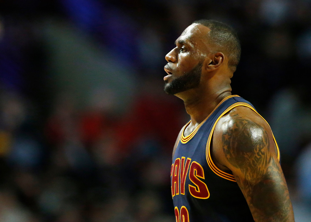 . Cleveland Cavaliers forward LeBron James walks to the bench during the first half of an NBA basketball game against the Chicago Bulls Thursday, March 30, 2017, in Chicago. (AP Photo/Nam Y. Huh)