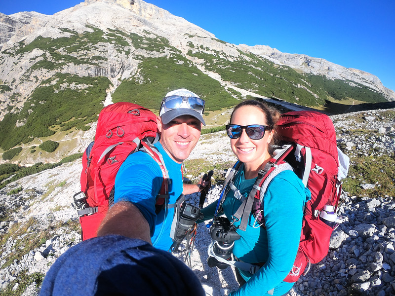 Divergent Travelers, David and Lina Stock, hiking in the Italian Dolomites