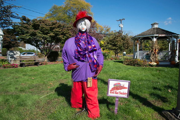 10/14/19 Wesley Bunnell | StaffrrThe Berlin Parks and Recreation Department is hosting the 15th Annual Scarecrow Festival now through the end of the month with scarecrows on display on Farmington Ave. A scarecrow entry by The Red Hat Society on display.