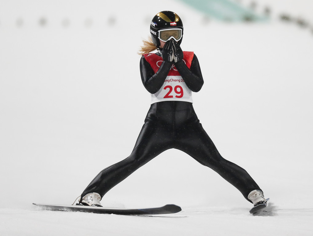 . Chiara Hoelzl, of Austria, reacts during the women\'s normal hill individual ski jumping competition at the 2018 Winter Olympics in Pyeongchang, South Korea, Monday, Feb. 12, 2018. (AP Photo/Matthias Schrader)