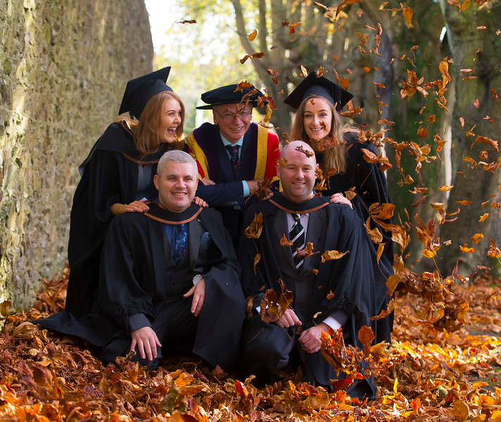 02/11/2016. Waterford Institute of Technology (WIT) Conferring Ceremonies November 2016. Pictured with Prof. Willie Donnelly President of WIT are  Stephen Hurley, Tramore, Adam Lonergan, Clonmel, Siobhan Merrigan, New Ross and Pippa Lee Wicklow who Graduated B.A. (Hons) in Applied Social Studies in Social Care. Picture: Patrick Browne