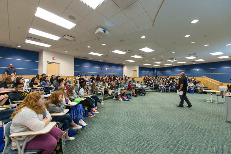 Javier Villarreal speaks to local area High School students during the Author's Day event.More photos: https://flic.kr/s/aHskt2hX4R