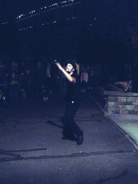 (blurry) Contact juggling.