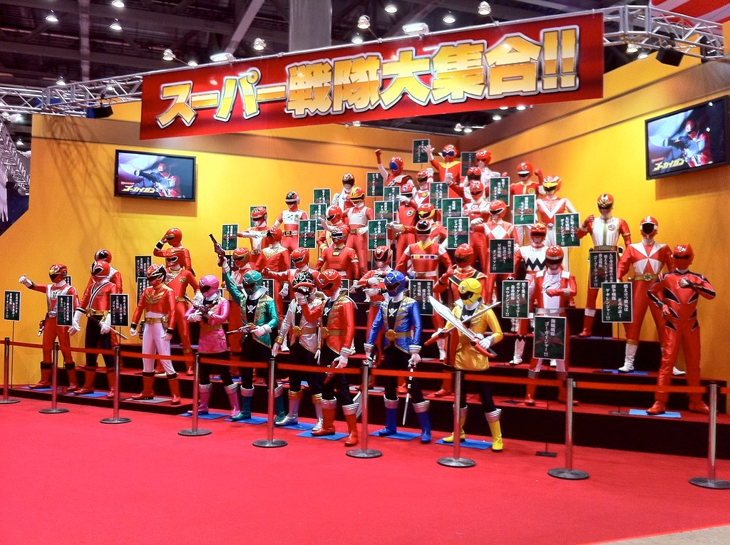 An assortment of superheroes at the Tokyo Toy Show