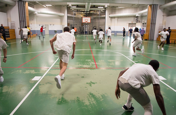 08/14/19 Wesley Bunnell | StaffrrThe Manson Youth Institution is implementing a basketball league, based off the New Britain Legacies Youth Development & Basketball Program, for inmates aged 14 to 21 to have a chance to play organized basketball with the qualification that inmates abide by the strict rules of the facility. Inmates participate in running drills during tryout. r