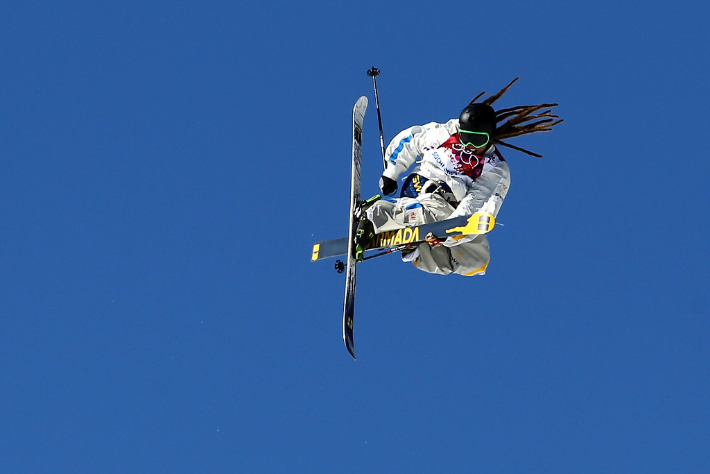 . Henrik Harlaut of Sweden competes in the Freestyle Skiing Men\'s Ski Slopestyle Finals during day six of the Sochi 2014 Winter Olympics at Rosa Khutor Extreme Park on February 13, 2014 in Sochi, Russia.  (Photo by Al Bello/Getty Images)