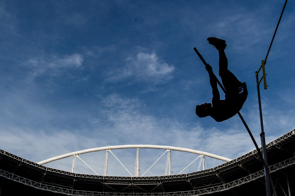 . Argentine Ruben Benitez competes during the Ibero American Athletics Championships men\'s pole vault final, a test event for Rio 2016 Olympic Games at the Olympic Stadium in Rio de Janeiro, Brazil on May 16, 2016. YASUYOSHI CHIBA/AFP/Getty Images