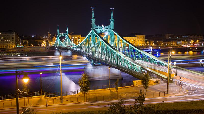 Budapest Liberty bridge at night