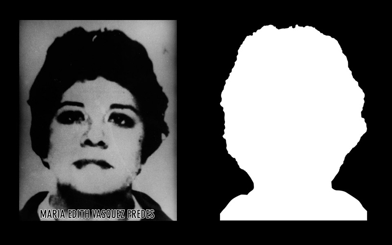Photograph and silhouette of María Edith Vasquez Fredes María Edith Vasquez Fredes was 25 years old when she voluntarily turned herself in at the Police Commission in Curalinahue in an effort to stop the torture of her two brothers who had been detained while the military searched for her. She was detained and disappeared on the 23rd of October of 1973. *Shown here is the detail of the original photograph juxtaposed against its silhouette. (Courtesy Alfredo Jaar Studio) Information about María Edith Vasquez Fredes can be found inside the archives of the Museo de Memoria y Derechos Humanos (Museum of Memory and Human Rights).  The information presented here and more can be found online:  http://www.memoriaviva.com/desaparecidos/d-v/1xg.html