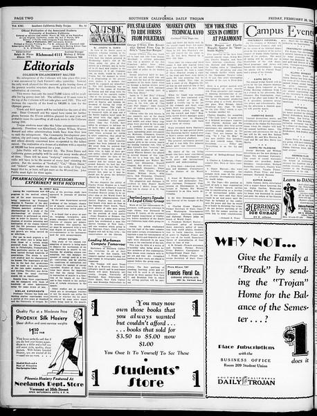 Southern California Daily Trojan, Vol. 21, No. 92, February 28, 1930