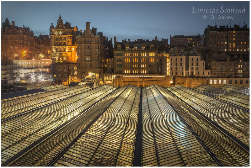 Market Street and the roof of Waverley Station, early morning