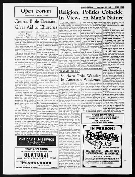 Summer Trojan, Vol. 13, No. 6, July 15, 1963