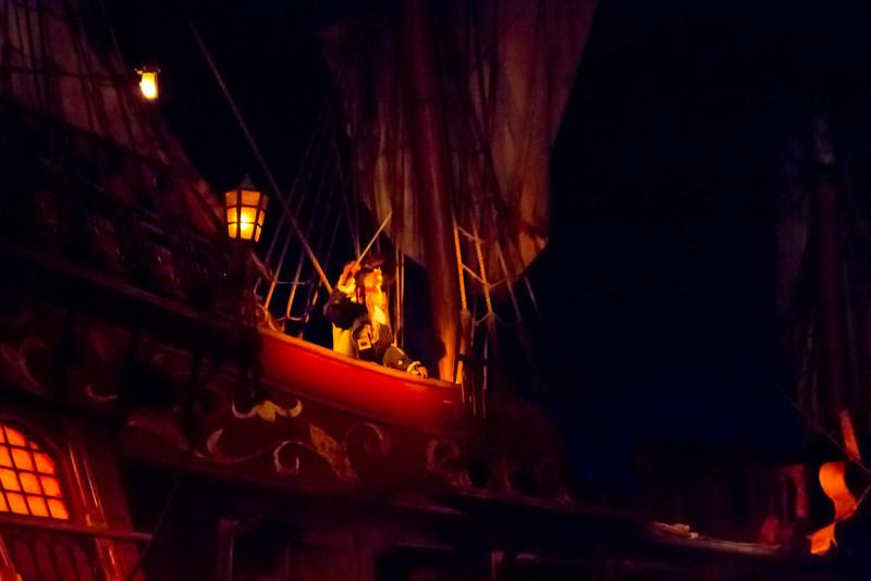 Captian Barbossa's & His Ship Inside Pirates Of The Carribean Ride @ Disneyland