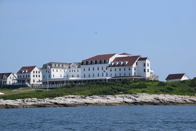 view of large seaside hotel