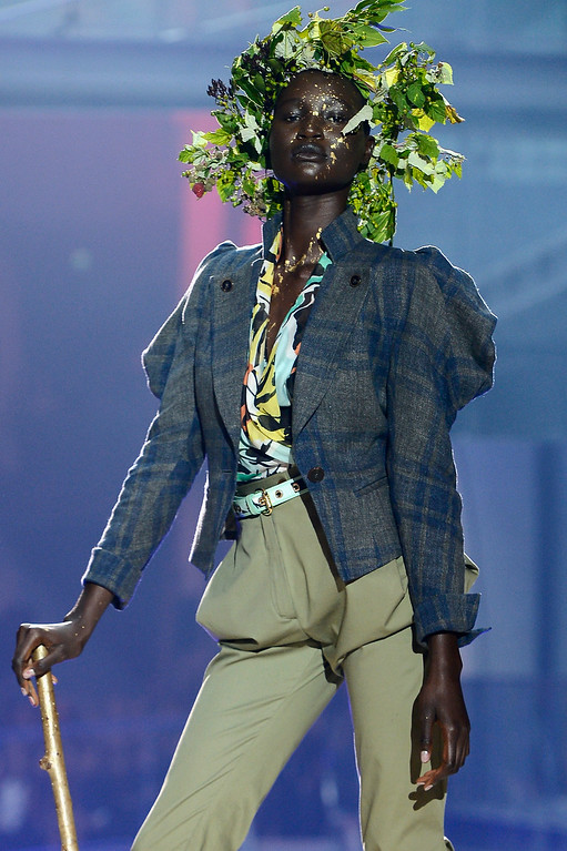 . PARIS, FRANCE - SEPTEMBER 28:  A model walks the runway during Vivienne Westwood show as part of the Paris Fashion Week Womenswear Spring/Summer 2014 at Le Centorial on September 28, 2013 in Paris, France.  (Photo by Pascal Le Segretain/Getty Images)