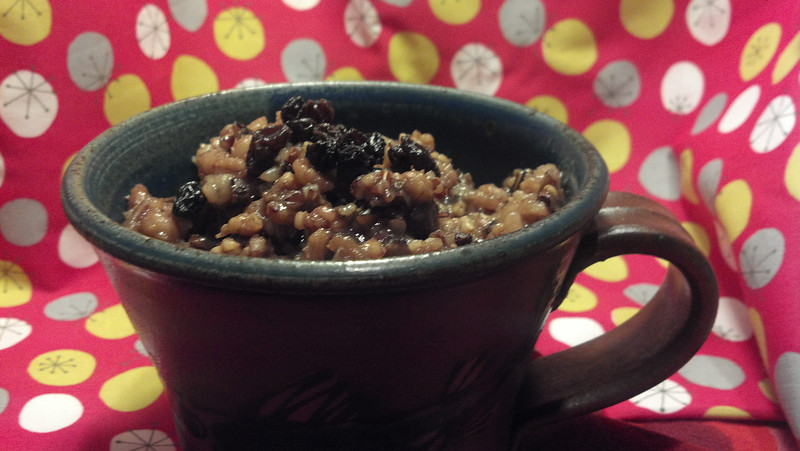 Barley, wild rice, mahogany rice & steel-cut oats hot cereal.