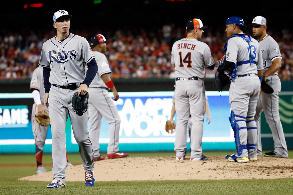 . Tampa Bay Rays pitcher Blake Snell (4) walks off the field after being pulled during the fourth inning of the Major League Baseball All-star Game, Tuesday, July 17, 2018 in Washington. (AP Photo/Patrick Semansky)