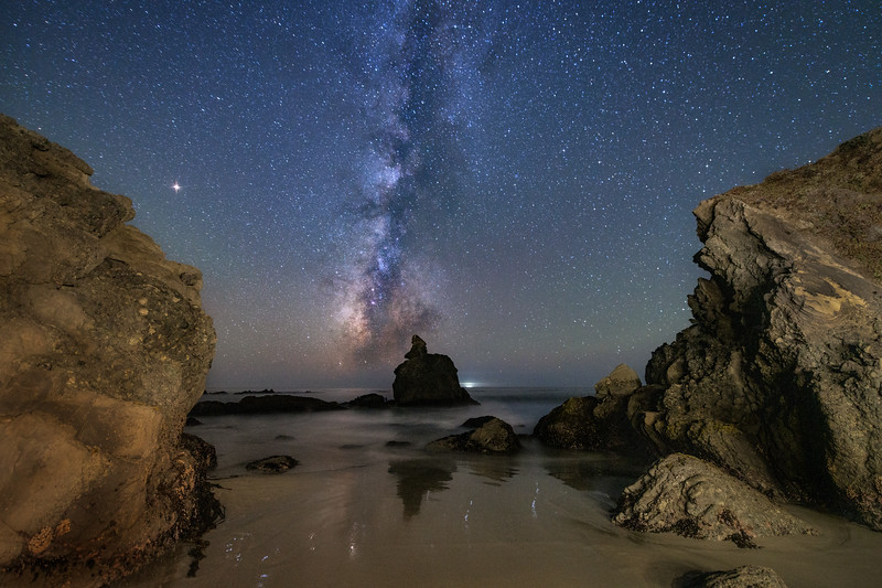 Buddha Rock & Milky Way, Sea Ranch, California