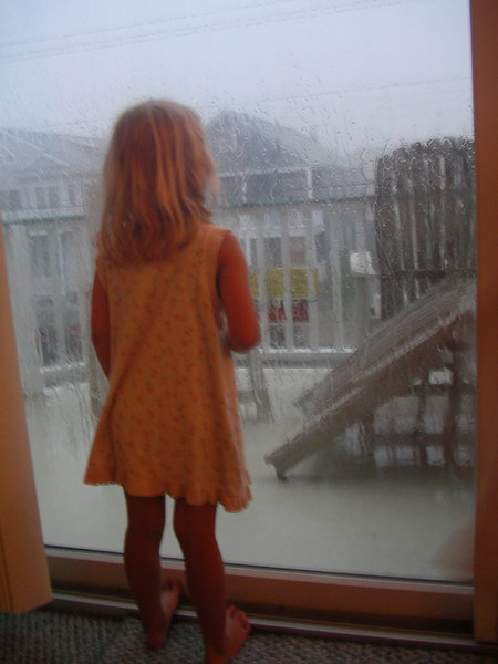 Staring out the window in the rain.