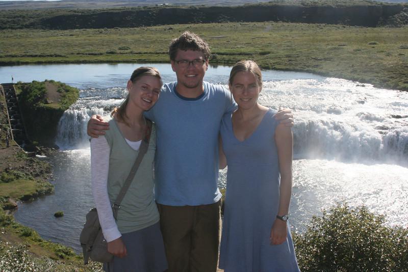 Aunika, Tyler and Kjirsten at Faxi waterfall.