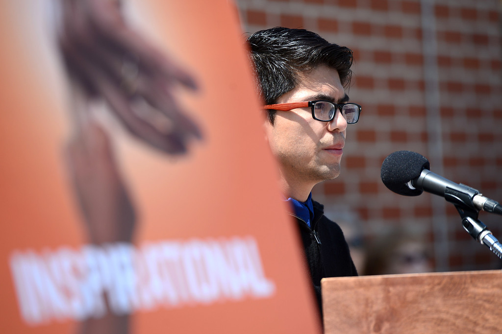 . Misael, a client of the Los Angeles LGBT Center, speaks about his experiences as the center announces a $25 million campaign to develop an affordable housing campus for LGBT youth and seniors Tuesday, May 27, 2014 on Santa Monica Boulevard in Hollywood and adjacent to their cultural center. Around 40 percent of the more than 6,000 homeless youth in Los Angeles identify as lesbian, gay, bisexual or transgender and the city has 65,000 LGBT seniors according to the L.A. Gay & Lesbian Center. (Photo by Sarah Reingewirtz/Pasadena Star-News)