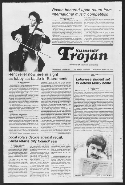 Summer Trojan, Vol. 74, No. 16, August 16, 1978