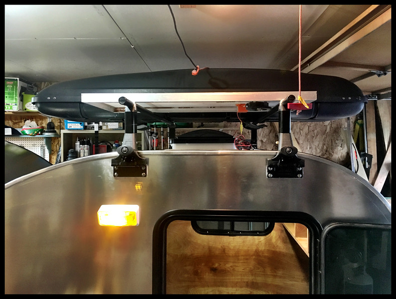 Yakima 1A roof racks on teardrop camper