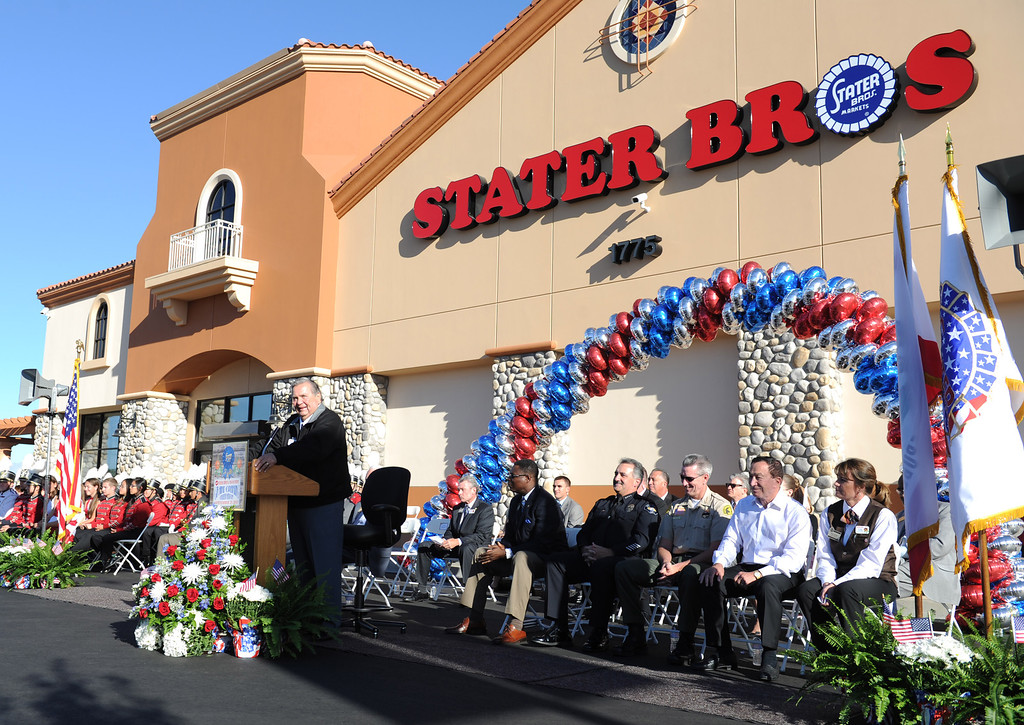 . (John Valenzuela/Staff Photographer) Stater Bros. C.E.O Jack Brown speaks during the grand opening of his newest grocery store in Redlands, Wednesday, September 25, 2013. The new store replaces the one directly across the street, offering more amenities and services, including a bakery, seafood counter and wider aisles.
