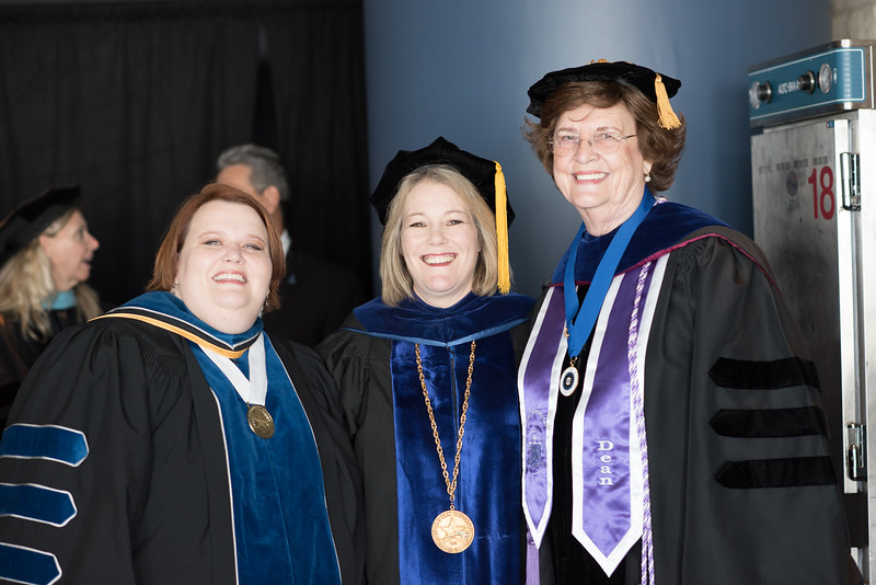 Amy Aldridge Sanford, Kelly Quintanilla and Mary Jane Hamilton. Over 1,100 graduates received their degrees during two commencement ceremonies held on May 13.