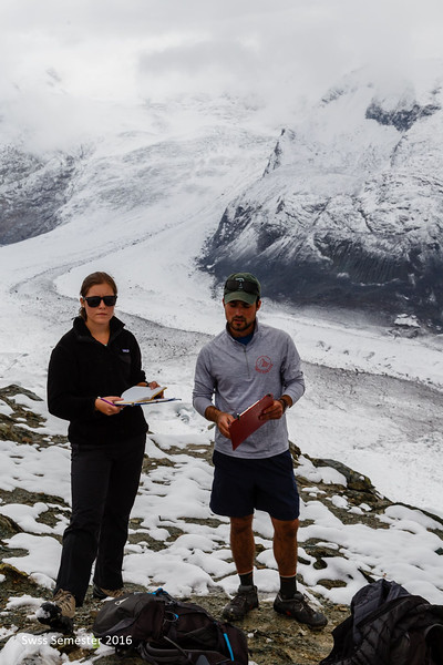 Ms. Mazur and Mr. Garczynski during a geology lab on glacier features