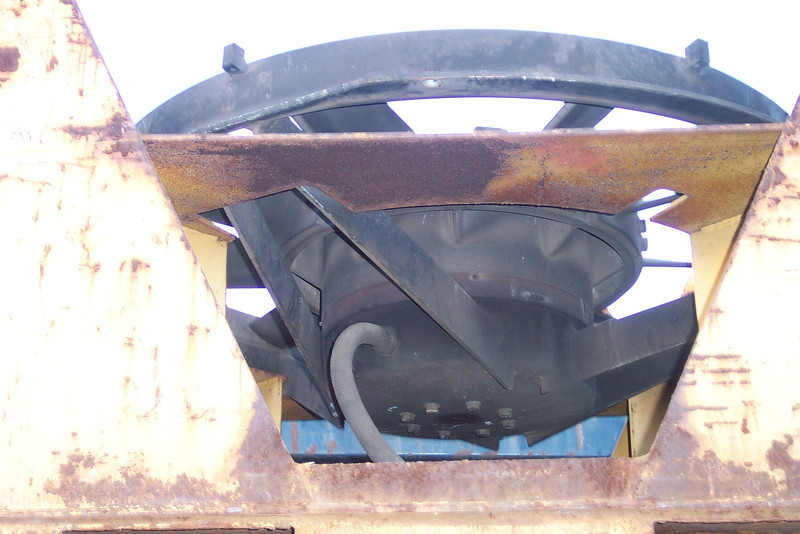 The under side of a 48-inch radiator fan, showing where the electrical connectionattaches to the base of the fan motor. <i>Don Strack Photo</i>