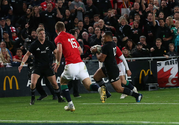 Ngani Laumape   during game 10 of the British and Irish Lions 2017 Tour of New Zealand, the third Test match between  The All Blacks and British and Irish Lions, Eden Park, Auckland, Saturday 8th July 2017 (Photo by Kevin Booth Steve Haag Sports)  Images for social media must have consent from Steve Haag