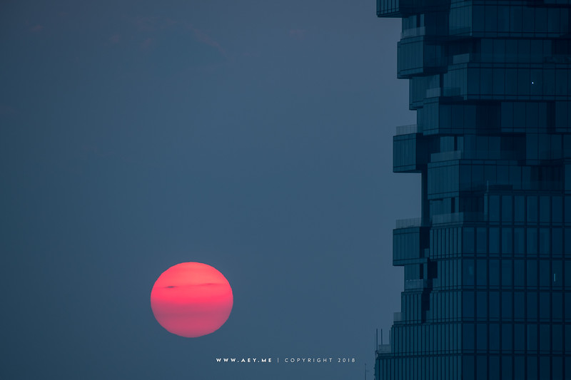 Setting Sun and Mahanakhon Building