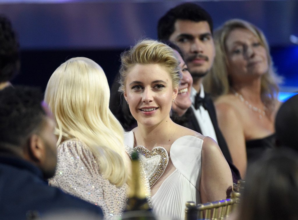 . Greta Gerwig appears in the audience at the 23rd annual Critics\' Choice Awards at the Barker Hangar on Thursday, Jan. 11, 2018, in Santa Monica, Calif. (Photo by Chris Pizzello/Invision/AP)