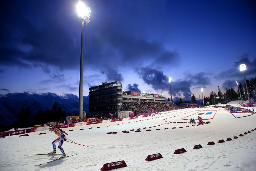 . Jitka Landova of the Czech Republic competes during the Women\'s 4 x 6 km Relay during day 14 of the Sochi 2014 Winter Olympics at Laura Cross-country Ski & Biathlon Center on February 21, 2014 in Sochi, Russia.  (Photo by Richard Heathcote/Getty Images)