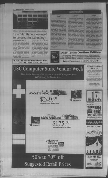 Daily Trojan, Vol. 133, No. 45, March 26, 1998